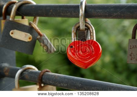 Rusty padlocks hang on sling love forever concept