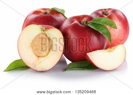 Nectarine Nectarines Slice Half Fruit Fresh Fruits Isolated On White