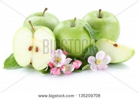 Apples Apple Fruit Fruits Slice Sliced Green Isolated On White