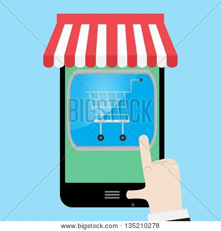 Make shopping with smartphone. Purchase and online shopping vector shopping cart and illustration online shopping icon