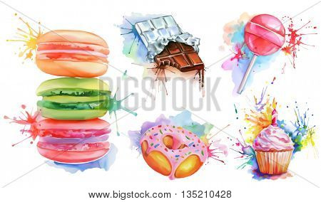 Watercolor confectionery set, vector icon collection with candy lollipop, macaroons, birthday cupcake, chocolate bar, donut with pink glaze. Delicious food for a sweet tooth