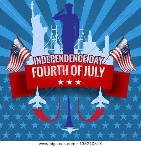 Fourth of July. Independence day background with red ribbon and waving USA flag. Vector illustration. Military jet planes with vapor trail