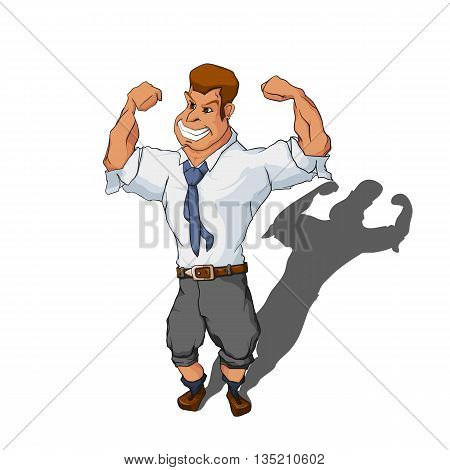 Muscular man in business suit. Office worker standing in the bodybuilder pose. Cartoon character isolated on white background. Vector illustration 10 EPS