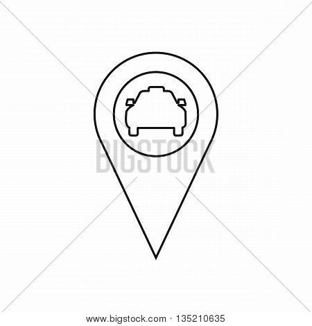 Geo taxi icon in outline style isolated on white background