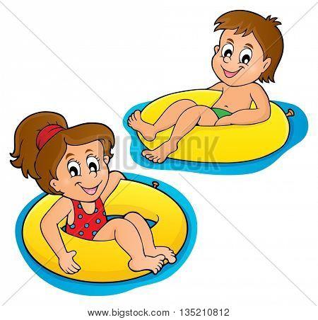 Children in swim rings image 1 - eps10 vector illustration.