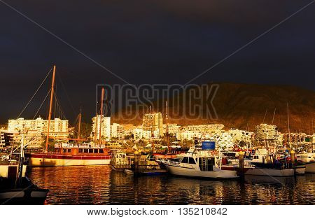 Harbour of Los Cristianos in Tenerife, Canary Islands, Spain