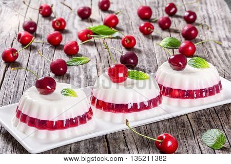 Italian dessert of cherry juice and sweetened cream thickened with gelatin and and molded on a rectangular dish with cherries on a dark wooden background view from above close-up