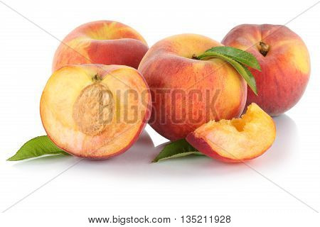 Peach Peaches Slice Half Fruit Fruits Leaves Isolated On White