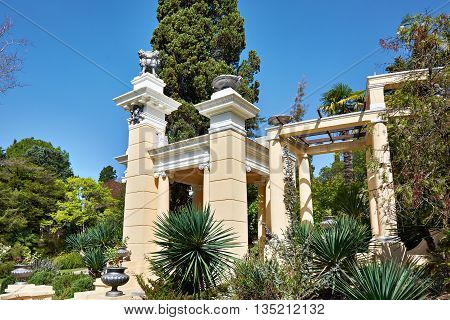 View of Sochi Arboretum. Moorish gazebo and trees
