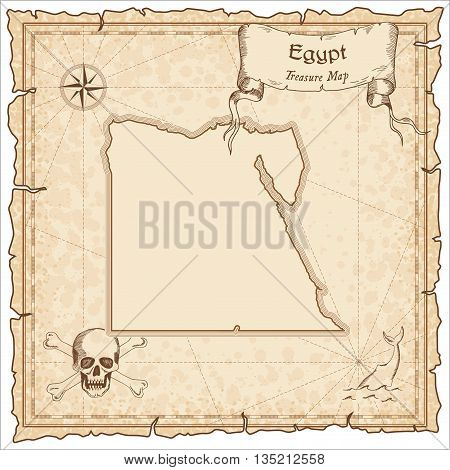 Egypt Old Pirate Map. Sepia Engraved Template Of Treasure Map. Stylized Pirate Map On Vintage Paper.