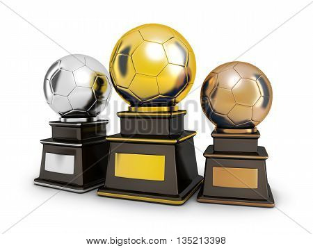 Three cup football on a white background (done in 3d rendering)