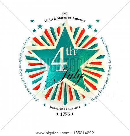4th July Independence Day card with the star