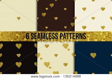 Gold glittering seamless pattern set made of hearts. Six  Valentines day backgrounds. Good for web, print and wrapping paper