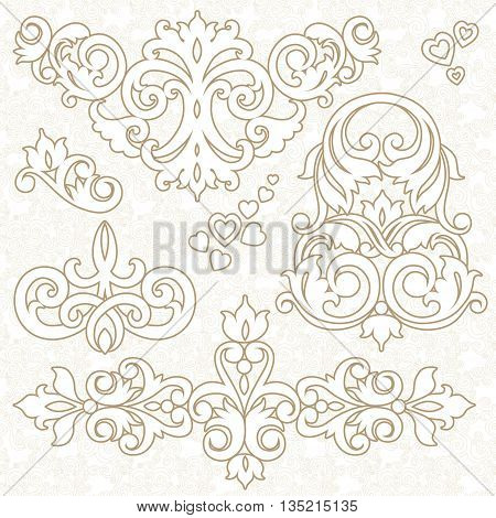 Vector Set Of Ornament In Victorian Style.