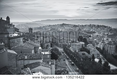 Small Italian town panorama. Province of Fermo Italy. Monochrome photo