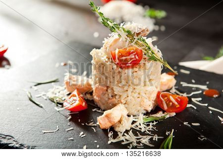 Gourmet Seafood Risotto with Parmesan and Cherry Tomato