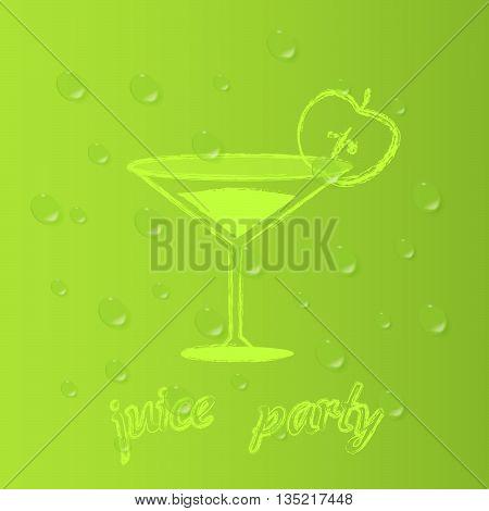 Party apple juice. Vector background green.Drops of juice