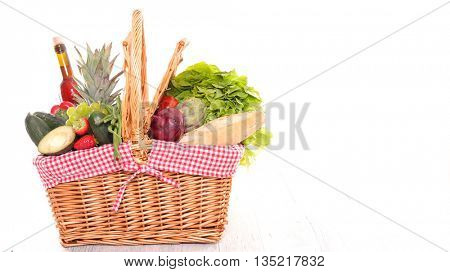 shopping basket with assorted grocery