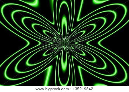 Illustration of an abstract neon green flower
