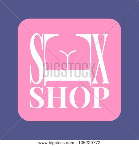 Sex shop vector logo. Sex toys, adult goods