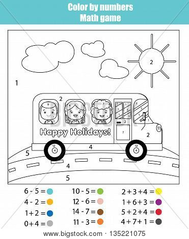 Coloring page with kids traveling in school bus. Color by numbers math children educational game. For school years kids. Learning mathematics algebra addittion and subtraction