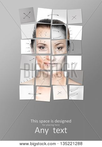 Face made of many different portraits. Plastic surgery concept.