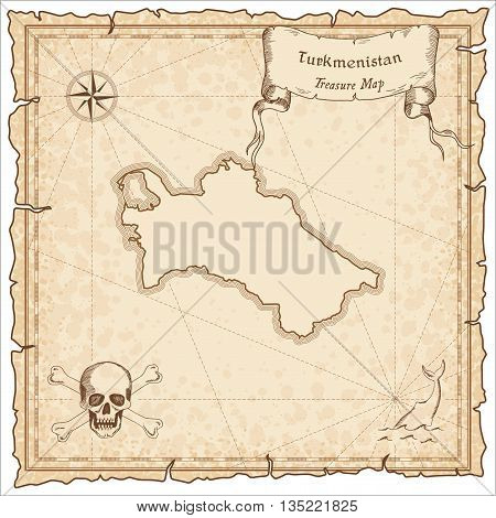 Turkmenistan Old Pirate Map. Sepia Engraved Template Of Treasure Map. Stylized Pirate Map On Vintage