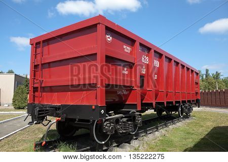NIZHNIY TAGIL, RUSSIA - JUNE 1, 2016: Photo of Red freight wagon, model 12-175.