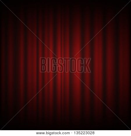 Red Curtain From The Theatre With A Spotlight Design Vector Eps 10