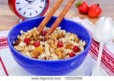 Oatmeal with Raisins, Walnuts and Cranberry Studio Photo