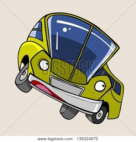 cartoon character cheerful yellow bus stands sideways