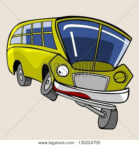 cartoon character cheerful yellow bus fun winks