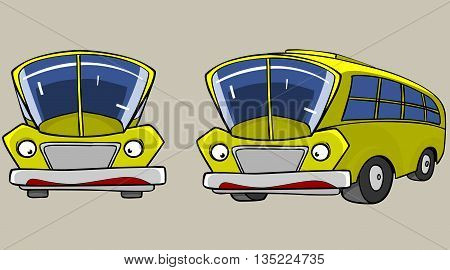 Cartoon Character Yellow Bus in different angles