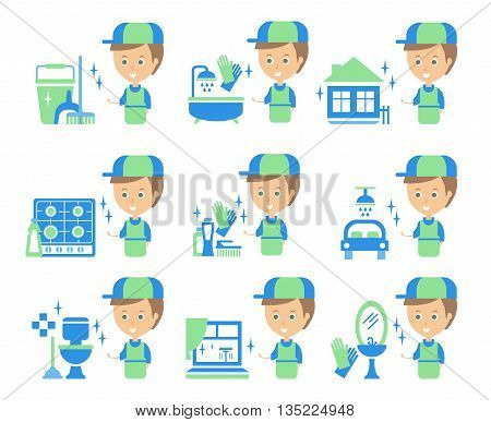 Cleaning Service Man And Finished Tasks Set Of Illustrations In Stylized Simplified Flat Vector Cartoon Stickers