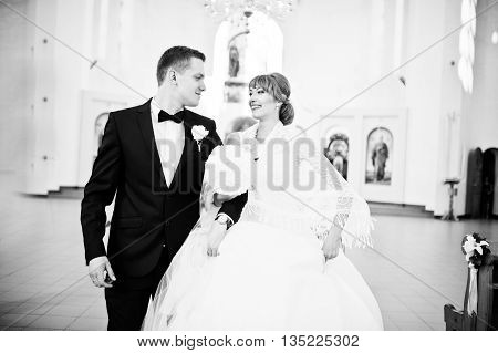 Wedding Couple Happy And Smiled In Out Of Church