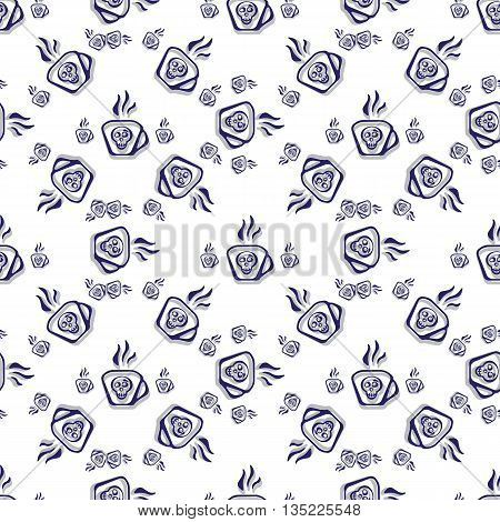 Seamless Pattern, Cup Of Poison And A Skull