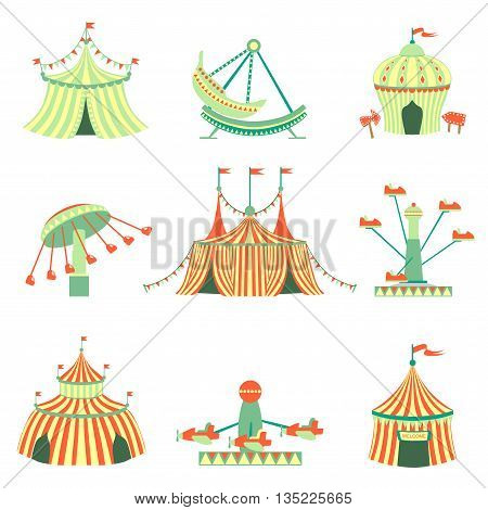 Amusement Park Elements Collection Of Cartoon Syle Flat Vector Illustrations Isolated On White Background