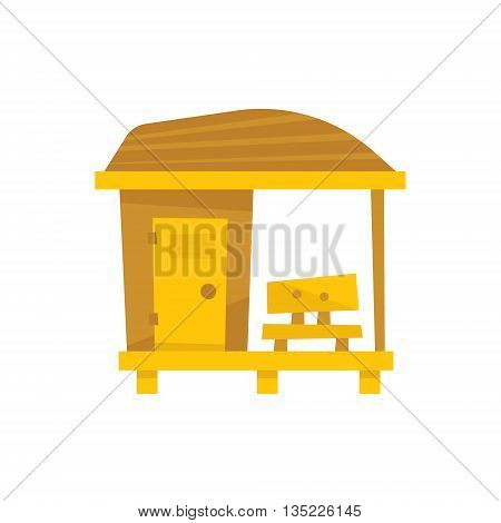 Small Wooden Beach Cabin With Bench Cartoon Style Colorful Flat Vector Icon Isolated On White Background