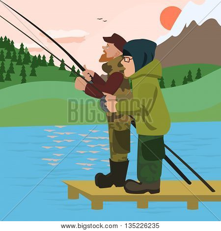 men fishing at mountain lake - colorful vector cartoon illustration