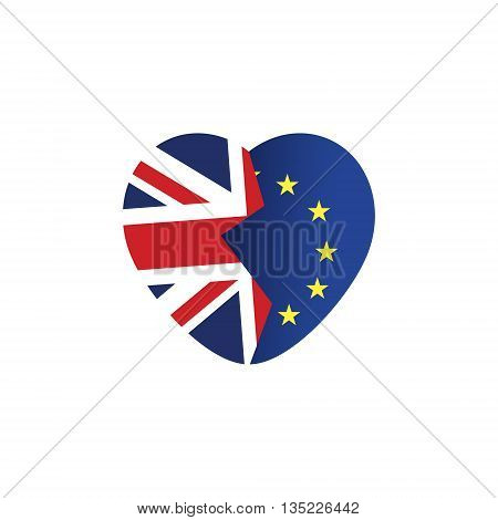 Brexit icon. British flag. EU flag. Broken heart symbol of imminent exit of Great Britain out of the European Union. Vector illustration isolated object.