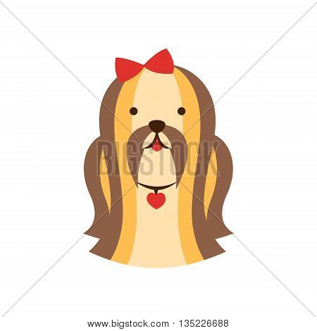 Shih-Tzu Dog Breed Primitive Cartoon Illustration In Simplified Vector Design Isolated On White Background