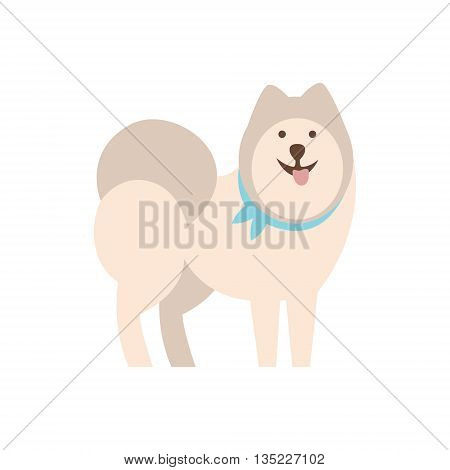 Husky Dog Breed Primitive Cartoon Illustration In Simplified Vector Design Isolated On White Background