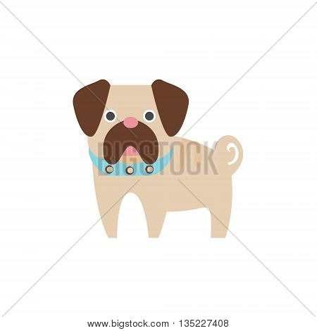 Pug Dog Breed Primitive Cartoon Illustration In Simplified Vector Design Isolated On White Background