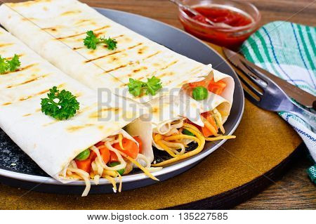 Pita Bread with Vegetables, Chinese Noodles and Arugula Studio Photo