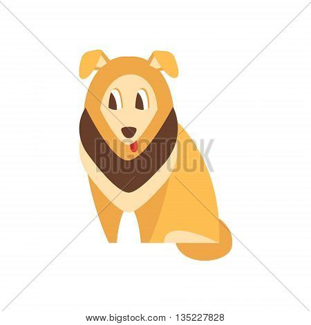 Collie Dog Breed Primitive Cartoon Illustration In Simplified Vector Design Isolated On White Background