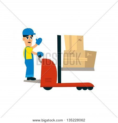 Worker Operating Forklift Machine Simplified Flat Vector Design Colorful Illustration On White Background