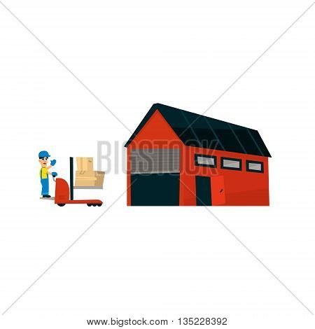 Worker Driving Forklift Machine Into Warehouse Simplified Flat Vector Design Colorful Illustration On White Background