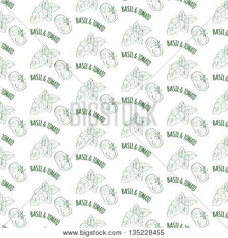 Seamless vector pattern with hand drawn spices isolated on white. Kitchen herbs and spices. Hand drawn sketch illustrations