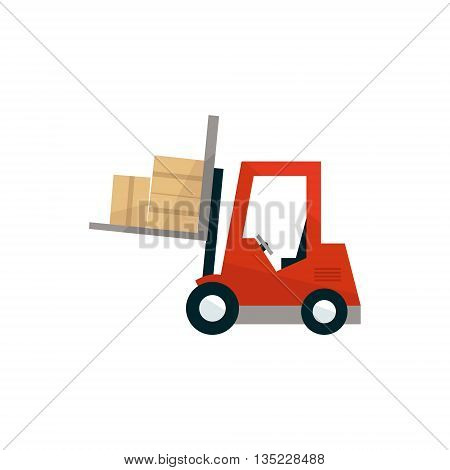 Forklift Machine Loading The Boxes Simplified Flat Vector Design Colorful Illustration On White Background