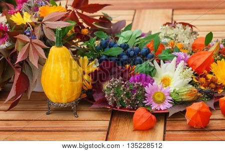 a Autumnal table decoration on the terrace